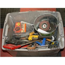VARIOUS TOOLS, HAMMERS, SAWS, DRILL BITS AND MORE.