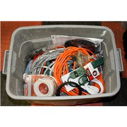 TOTE OF SPLITTERS, EXTENSION CORDS AND MORE