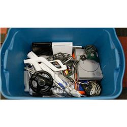 LARGE TOTE OF GAME CONSOLES, ACCESSORIES, AND MORE
