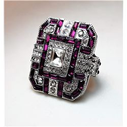 14)  ART DECO STYLE HOT PINK & WHITE TOPAZ