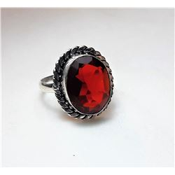 9)  OVAL SHAPED, SILVER TONE DEEP RED