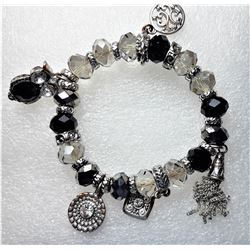 24)  BLACK, CLEAR CRYSTAL & SILVER