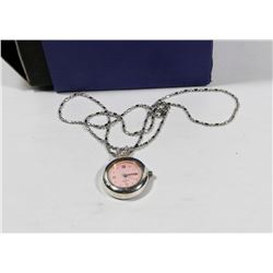 QUARTZ PINK FACE PENDANT WATCH WITH CHAIN