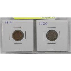 1919, 1920 GV SILVER 5 CENT COINS
