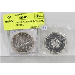 LOT OF 2 CANADA SILVER DOLLARS, 1962, 1964(PROOF,