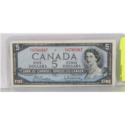 1954 N/X PREFIX $5 BILL