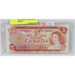 1974 CANADA $2 BILL POKER HAND SERIAL NUMBER