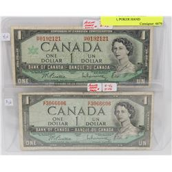 LOT OF 2 CANADA $1 BILLS 1967,1954, POKER HAND