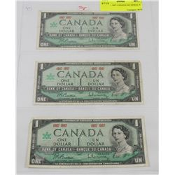 LOT OF 3 1967 CANADA NO SERIAL # BILLS