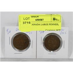 LOT OF 2 CANADA LARGE PENNIES, 1909, 1911