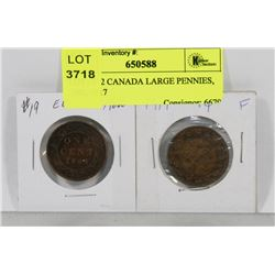 LOT OF 2 CANADA LARGE PENNIES, 1902, 1917