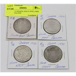 LOT OF 4 CANADA HALF DOLLARS, 2-1942, 1916,1939