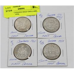 LOT OF 4 CANADA HALF DOLLARS, 1950, 1954, 1958,