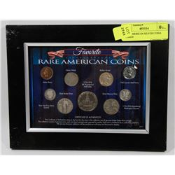 RARE AMERICAN SILVER COINS FRAMED