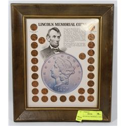 FRAMED LINCOLN MEMORIAL COINS