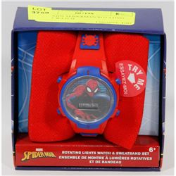 NEW KIDS SPIDERMAN ROTATING LIGHT WATCH