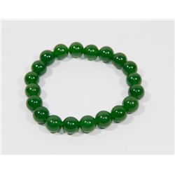 #16-NATURAL GREEN JADE BEAD BRACELET 8""