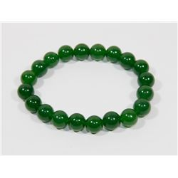 #17- NATURAL GREEN JADE BEAD BRACELET 8""