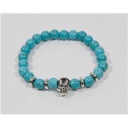 #9-NATURAL BLUE TURQUOISE BEAD BRACELET