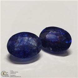 85) 2 ENHANCED BLUE SAPPHIRES, 9X7MM OVALS,
