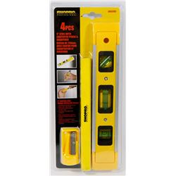 "NEW! 4PC 9"" LEVEL WITH CARPENTER PENCIL & SHARPENER"