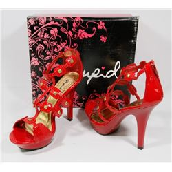 QUPID RED CRINKLE LIZARD SIZE 7.5 LADIES SHOES,