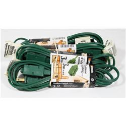 BUNDLE OF 4 WOODS OUTDOOR 3m EXTENSION CORDS