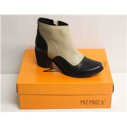 MIZ MOOZ NYC SZ 6.5 TWO-TONE LEATHER BOOTIE