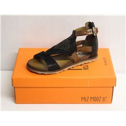 MIZ MOOZ NYC SZ 6 BLACK TESSA LEATHER SANDALS