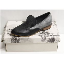 SZ 5 ELLEN RUBEN BLACK GREY LEATHER LOAFERS
