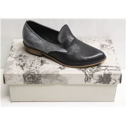 SZ 6 ELLEN RUBEN BLACK GREY LEATHER LOAFERS