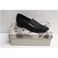 SZ 8.5 ELLEN RUBEN BLACK LEATHER LOAFERS