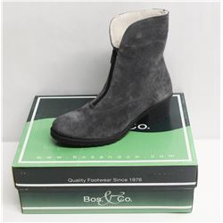BOS. & CO. SZ 6 GREY BELLIN HEELED ANKLE BOOTS
