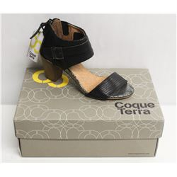 COQUE TERRA  SZ 6.5 CRUST BLACK MID HEEL SANDALS