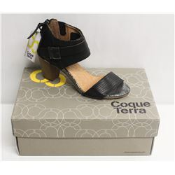 COQUE TERRA  SZ 9.5 CRUST BLACK MID HEEL SANDALS