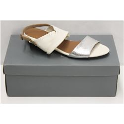 YUKO IMANISHI SZ 6 WHITE SLIVER SANDALS