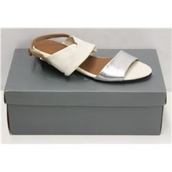 YUKO IMANISHI SZ 6.5 WHITE SLIVER SANDALS