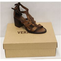 VERACRUZ SZ 6 PLOF TAN LEATHER MID HEEL SANDALS