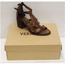 VERACRUZ SZ 6.5 PLOF TAN LEATHER MID HEEL SANDALS