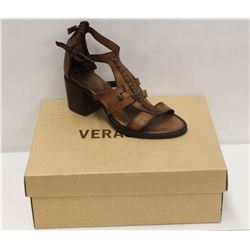 VERACRUZ SZ 7.5 PLOF TAN LEATHER MID HEEL SANDALS