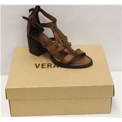 VERACRUZ SZ 9 PLOF TAN LEATHER MID HEEL SANDALS