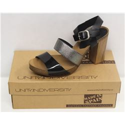 UNITY IN DIVERSITY SZ 9 BLACK MID HEEL SANDALS