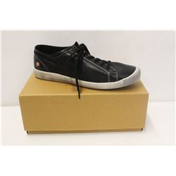 SOFTINOS SZ 9.5 ISLA WASHED LEATHER BLACK LOW TOP
