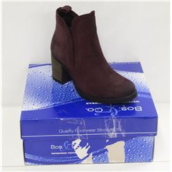 BOS & CO SZ 6.5 PRUNE SUEDE BELFIELD ANKLE BOOTS