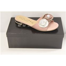 ATELIERS SZ 7.5 ROSE LEATHER SILAS SANDAL / FLATS