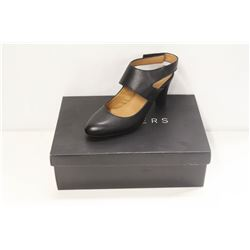 ATELIERS SZ 6.5 SOFTY BLACK LEATHER STRAP HEELS