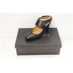 ATELIERS SZ 7.5 SOFTY BLACK LEATHER STRAP HEELS