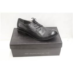 KEYMAN DESIGN SZ 11.5 BLACK-LACED LEATHER SHOES