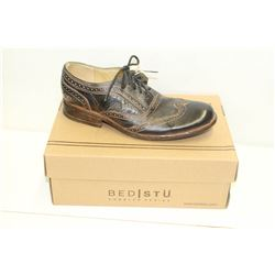 BEDSTU SZ 10 BLACK RUSTIC CORSICO LEATHER OXFORD