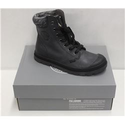 PALLADIUM SZ 6 BLACK IRON PAMPA HI KNIT SHOES